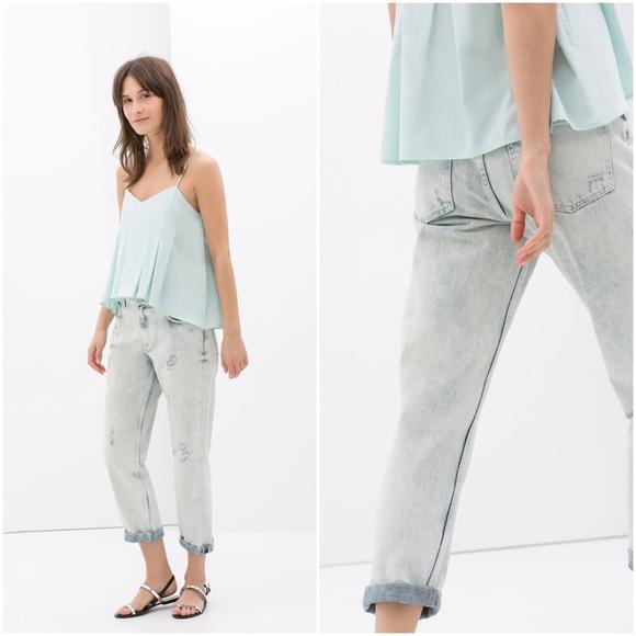 d1292ed3 Zara Jeans | Girlfriend Fit Ripped Jeanblue Us 8eur 40 | Poshmark